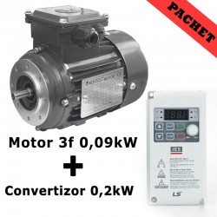 PACHET: Motor 3f 0,09kW 1400rpm + Convertizor 0,2kW